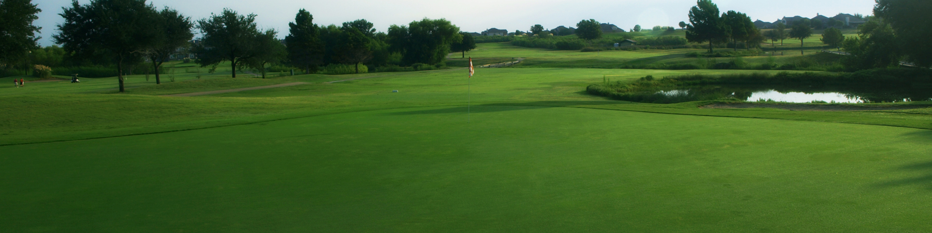 View of the greens for one of the holes on the course at Blackhawk Golf Club in Pflugerville, Texas